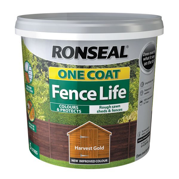 Ashwood Timber Products | Brands | Ronseal One Coat Fence Life | Harvest Gold
